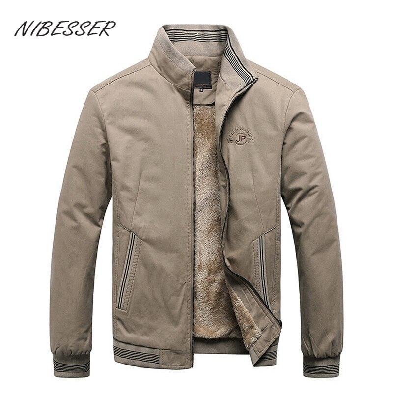 Мужские осенние куртки NIBESESR 2021, повседневные однотонные Модные Винтажные бриджи из 100% хлопка, высококачественные зимние мужские куртки 5XL