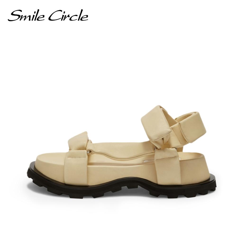 Smile-صندل نسائي مسطح دائري ، حذاء نسائي بنعل سميك ، ناعم ومريح ، غير رسمي ، للشاطئ ، بمقدمة مستديرة ، 2021