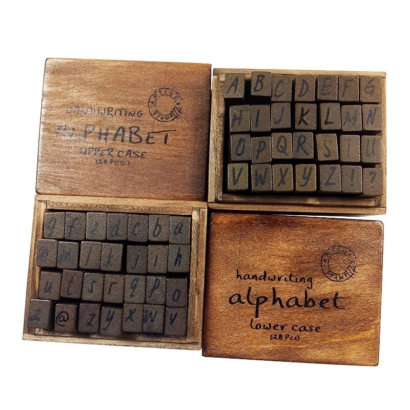 28 Pcs/set Kawaii Multi Purpose Handwriting Lowercase&Uppercase Alphabet Letter Wooden Rubber Stamp Set Craft