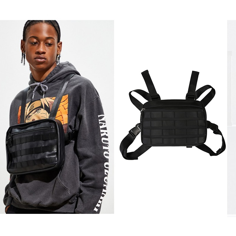 Bolsa de pecho chaleco para hombres impermeable ropa de calle táctil Hip Hop Nylon Paquete de pecho en bolsas Watist mujer negro moda militar nuevo