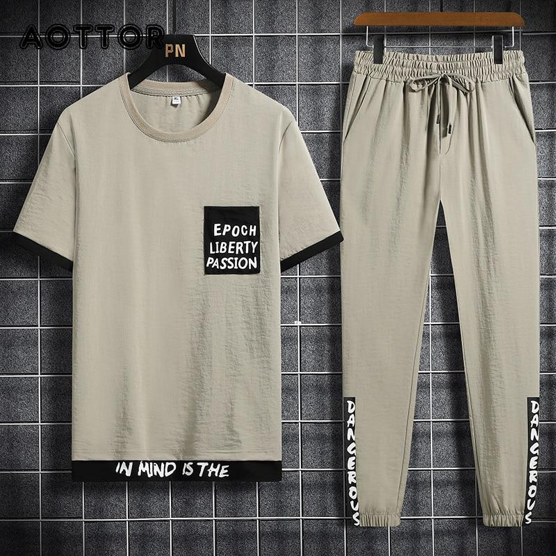 مجموعات الرجال ملابس الهيب هوب الشارع الشهير الربيع ملابس صيفية الذكور تي شيرت السراويل قطعتين مجموعة الموضة بلوزة كاجوال حجم كبير