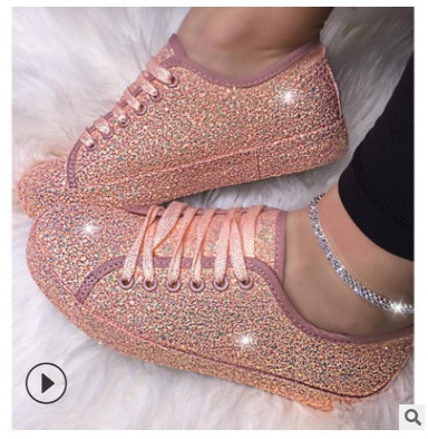Casual Sneakers Shoes Fashion Sequins Nightclub Glitter 2020