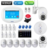 KERUI     systeme dalarme de securite domestique K52  sans fil  wi-fi  GSM  capteur de Signal anti-cambriolage  camera IP  controle par application  ecran tactile 4 3 pouces