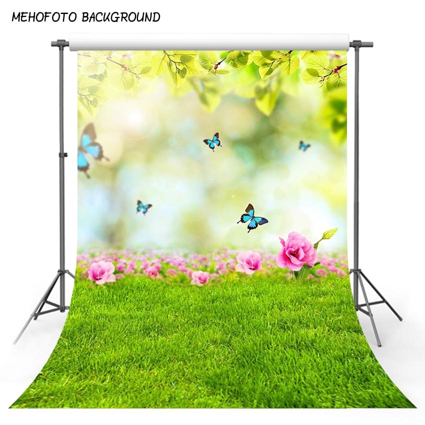 Easter Photography Backdrops Spring Scenery Green Grass Butterfly Baby Doll Pet Cake Portrait Supplies Background Photo Studio
