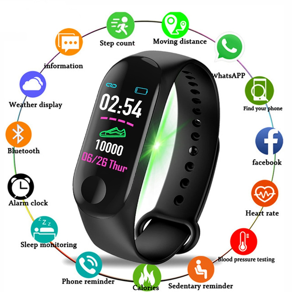 M3 pro men relógio inteligente 2020 mulheres esporte banda inteligente monitor de pressão arterial pulseira inteligente smartwatch para android iso