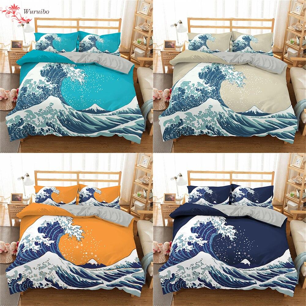 Homesky المحيط موجات طقم سرير لحاف مطبوع غطاء الملك الملكة حجم غطاء السرير المعزي غطاء 2/3 قطعة أغطية السرير