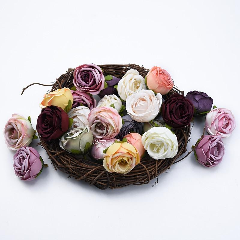 20 Uds delicadas flores rosas cabeza flores decorativas para boda decoración del hogar Accesorios Navidad artesanía flor artificial barato