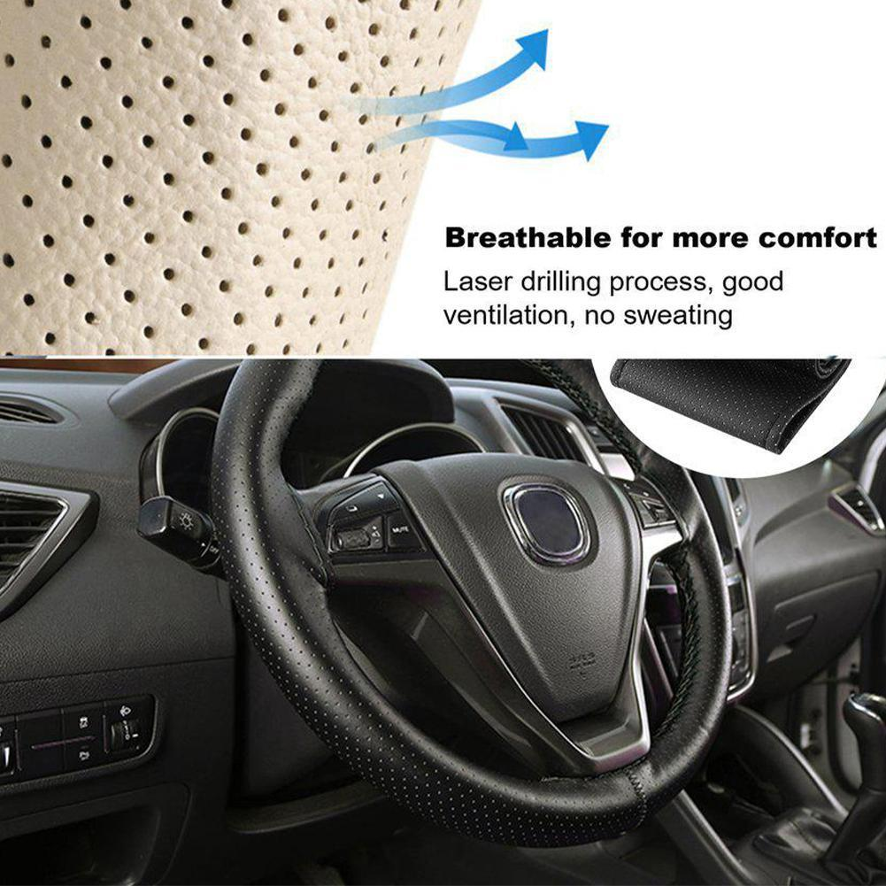 Black 37-38cm DIY Car-Styling Auto PU Leather Car Steering Thread Wheel accessories and Interior Cov