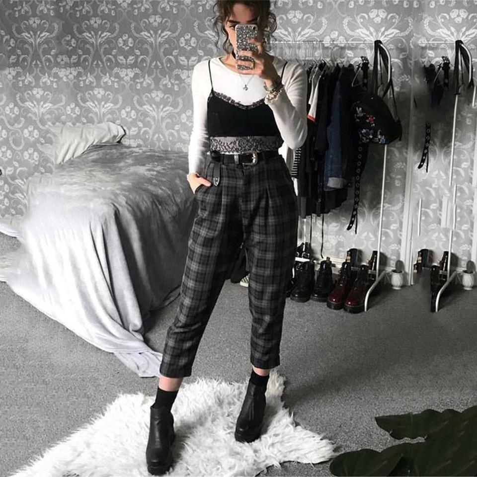 Plaid Pants Women Streetwear Cool Girl High Waist Trousers harem sweatpants joggers women cargo swea