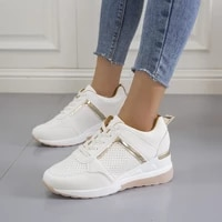 new women sneakers lace up wedge sports shoes womens vulcanized shoes casual platform ladies sneakers comfy females shoes