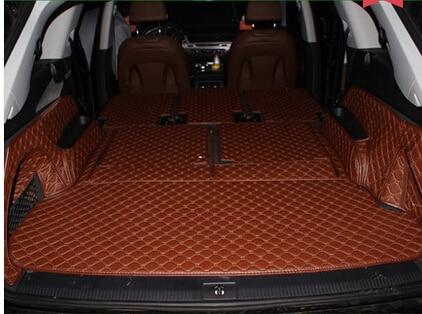 Tapetes de carga impermeables de cuero Pu de cobertura completa sin olor, alfombras antideslizantes, esteras para maletero de coche para Audi Q7, 7 asientos