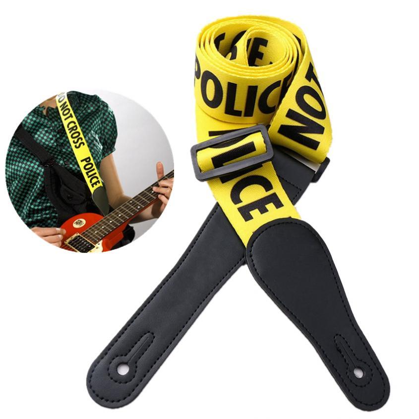 Correa de guitarra amarilla ajustable diseño de palabras de policía con cabeza de cuero genuino para guitarra eléctrica acústica