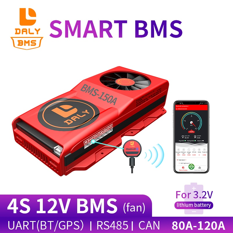 Daly ant smart BMS 3.2V 18650 BMS LiFePO4 BMS 4S 12V 80A 100A 120A BMS with Bluetooth UART RS485 CAN NTC function with Fan