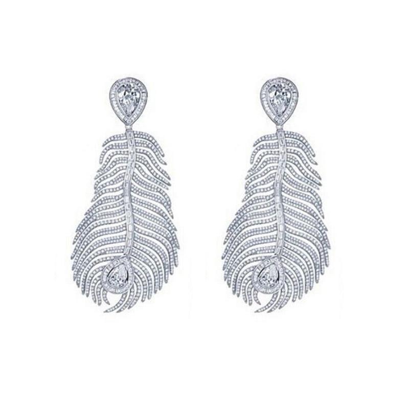 Moda barroca brillante lleno de diamantes de imitación hojas de plumas gran pendiente para las mujeres de lujo elegante largo cristal pendiente marca de diseño