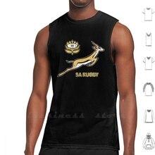 Sa Rugby - Vintage Springbok Logo gilet débardeur coton sans manches Za Zaf afrique du sud Rugby Boerewors Droëwors Biltong