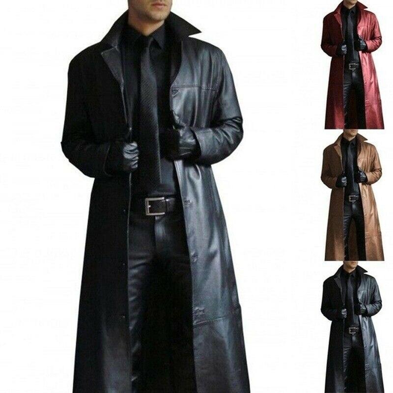 Spring Autumn Faux Leather Coat Men Jackets Coat Streetwear Mens Clothing Casual Plus Size Black Brown Long Jacket Overcoat