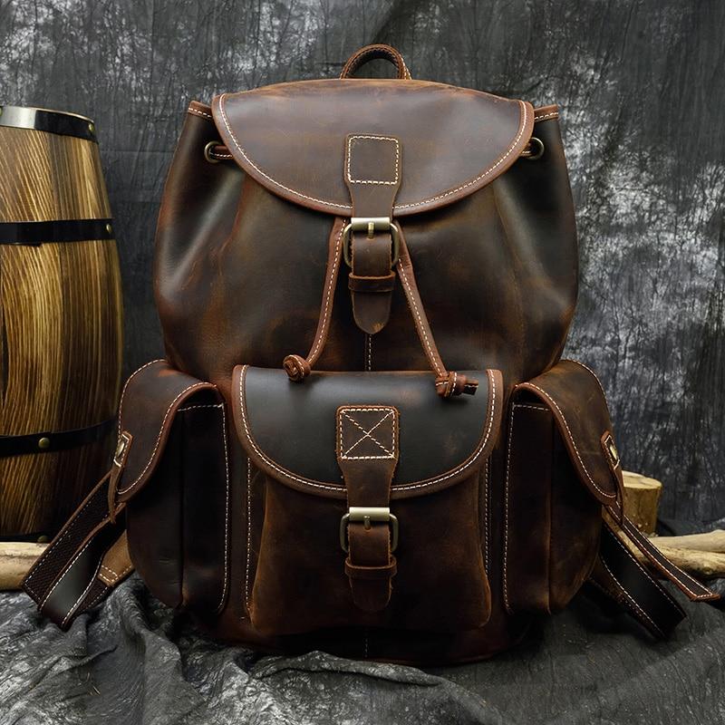 Luufan-حقيبة ظهر جلدية كريزي هورس كلاسيكية للرجال ، سميكة ، جلد البقر الأصلي ، حقيبة سفر بسعة كبيرة ، حقيبة مدرسية