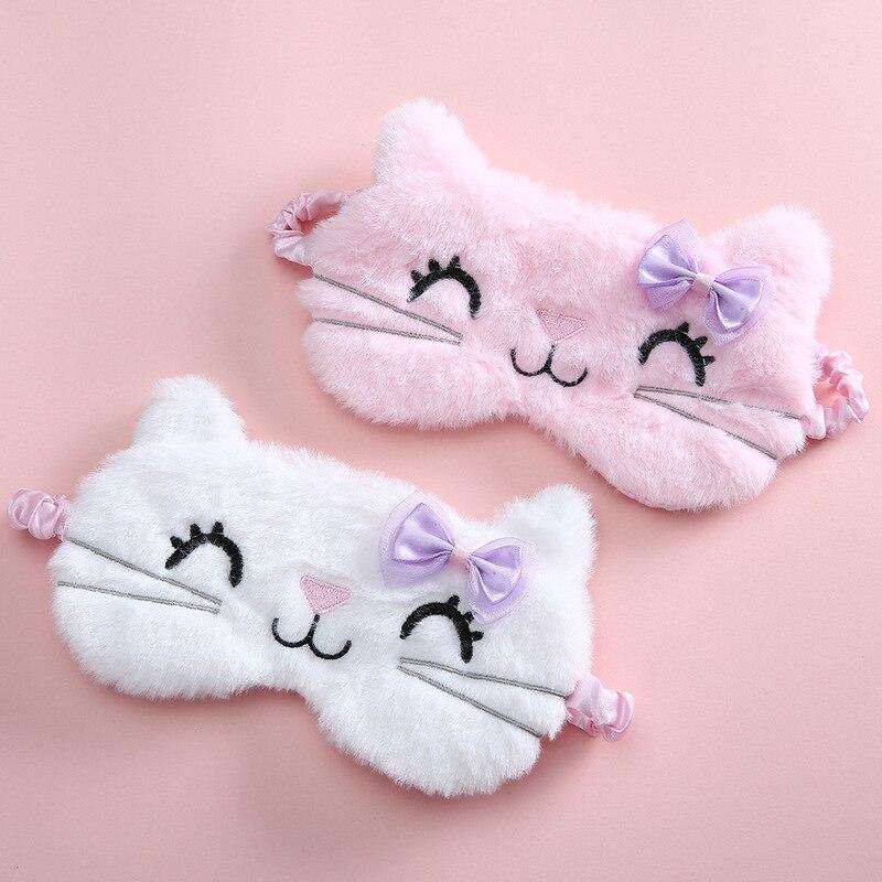 Plush Sleeping Mask Blindfold Cute Cat Eye Cover Kids Anime Sleep Mask Cartoon Soft Plush Mask Trave