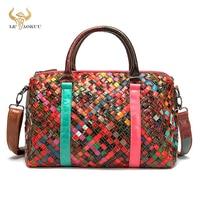 Trend Multi-Colorful Genuine Leather Brand Luxury Ladies Patchwork Large Purse Handbag Shoulder bag Women Designer Tote bag 9038