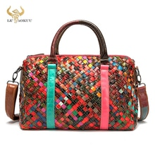 Trend Multi-Colorful Genuine Leather Brand Luxury Ladies Patchwork Large Purse Handbag Shoulder bag
