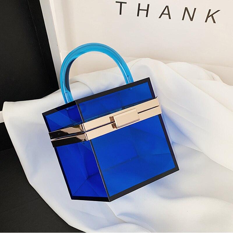 حقيبة يد نسائية من الأكريليك الشفاف ، حقيبة يد فاخرة من الأكريليك ، ماركة جديدة ، عصرية ، لامعة مع بلورات
