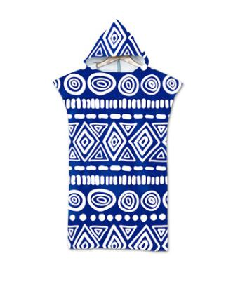 Adult Beach Suit Change Robes Poncho Hood Beach Towel Geometric Printed Microfiber Quick Drying Absorbent Bath Towels Beachwear
