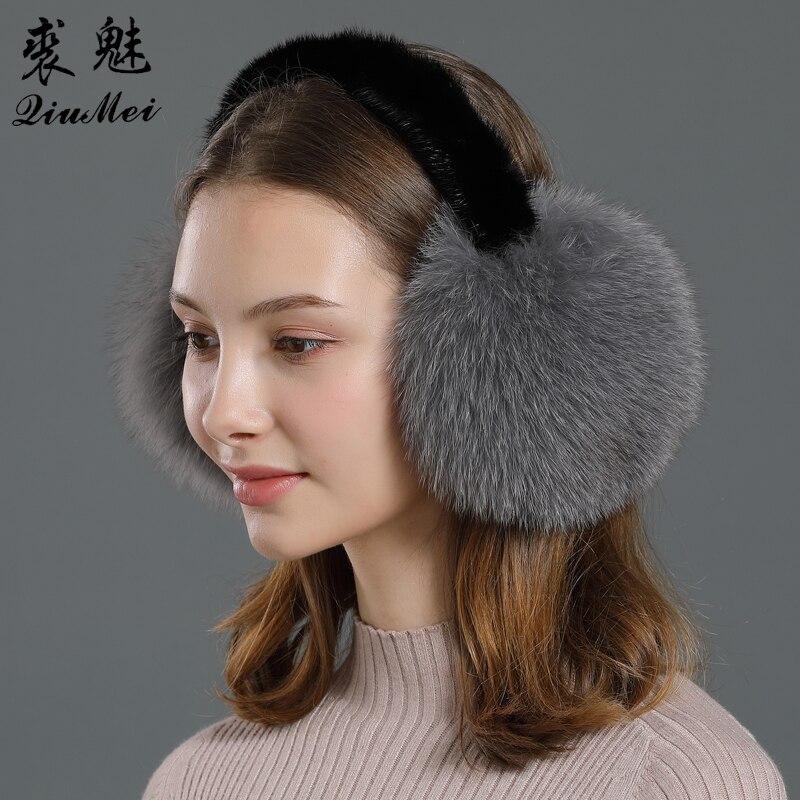 De piel de zorro genuina auriculares orejeras para mujeres oído calentador de piel de visón Real de 2020 de lujo gran pompón suave de piel de zorro orejeras invierno