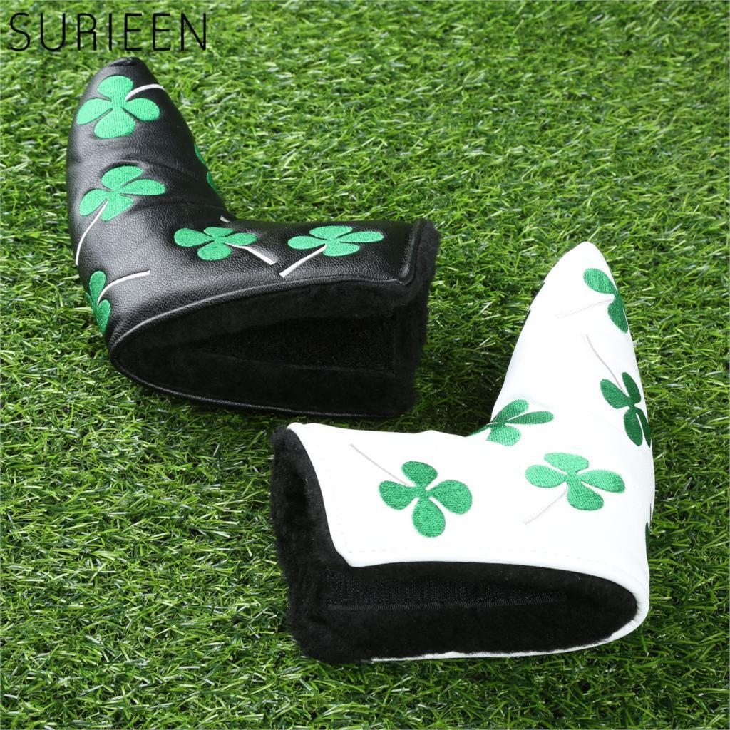 Couro grosso do plutônio golfe headcover putter capa lâmina de golfe cabeça capa para clube de golfe acessórios verde quatro folhas trevo preto/branco