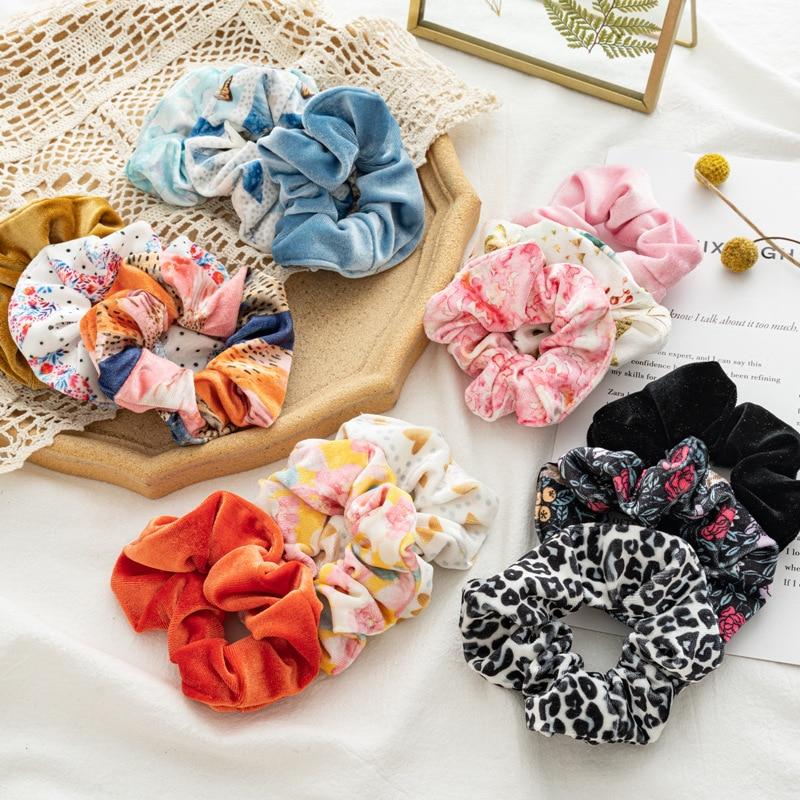 New 3pcs/set Velvet Hair Scrunchies Ring  Femme Elastic Hair Bands Kawaii Fille Accessories Soft Charming Scrunchie Chouchou