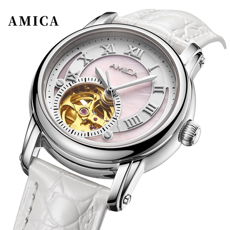 AMICA Fashion Women Simple Concise Watches Casual Ladies Leather Mechanics Watch Clocks Watch Reloj De Mujer