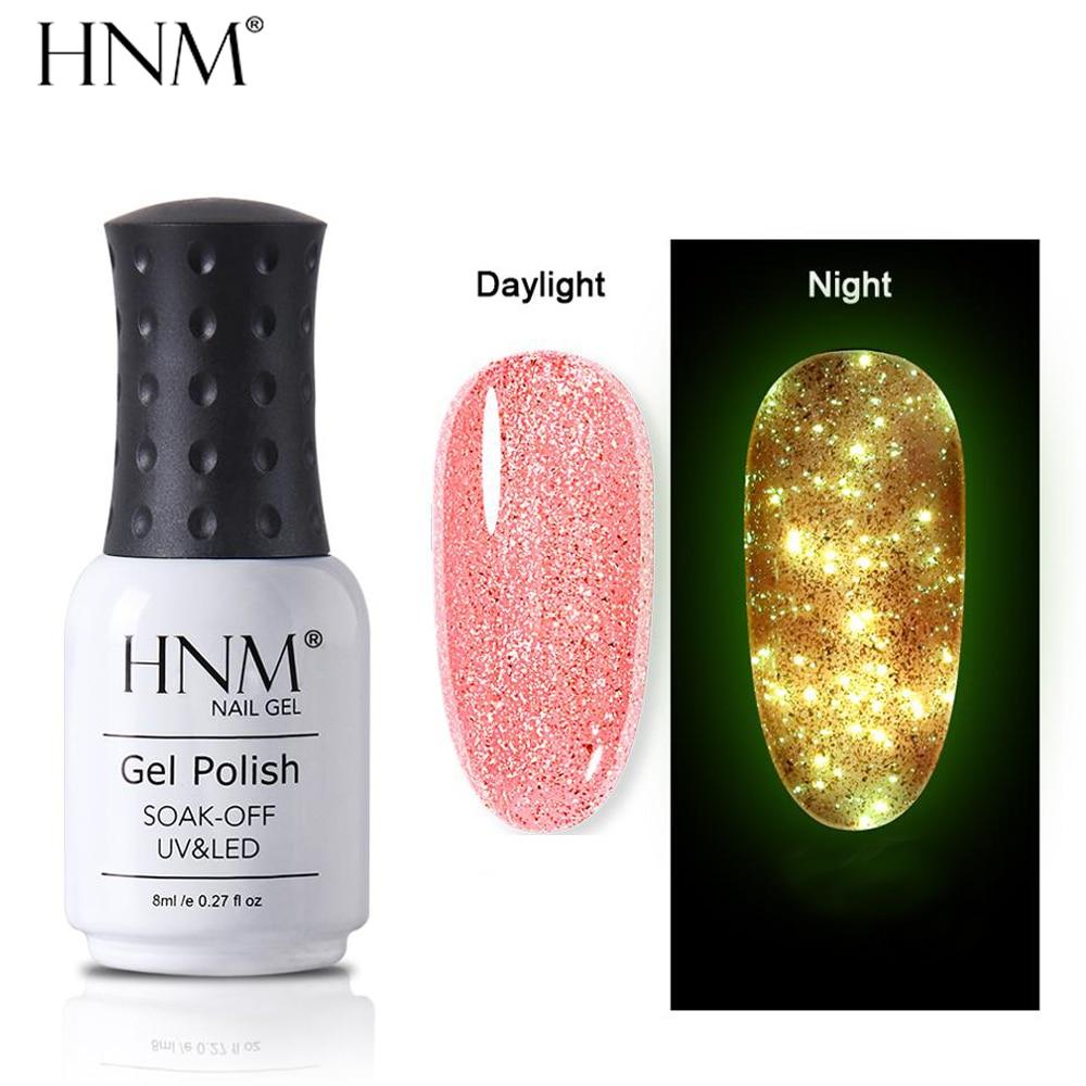 HNM 8 мл светящийся розовый Золотой Гель-лак для ногтей ночной светящийся в темноте флуоресцентный Сказочный лак отмачиваемый лак УФ светодиодный стойкий