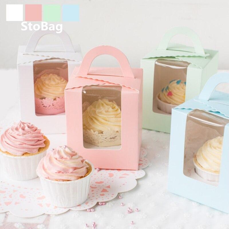 Caja de dulces StoBag con ventana abierta de 10 Uds., caja de dulces para magdalenas, pasteles, postres, galletas, hornear postres, caja de Embalaje portátil de regalo