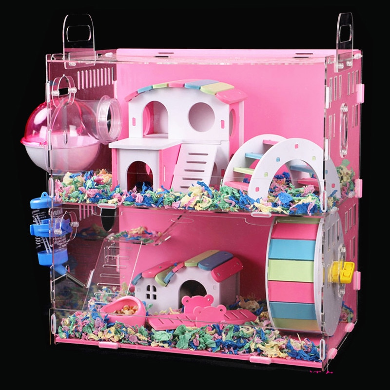 De gran tamaño Hamster casa acrílico jaula para mascotas pequeña transparente de Villa Guinea cerdo básicos jaula juguetes paquete nido