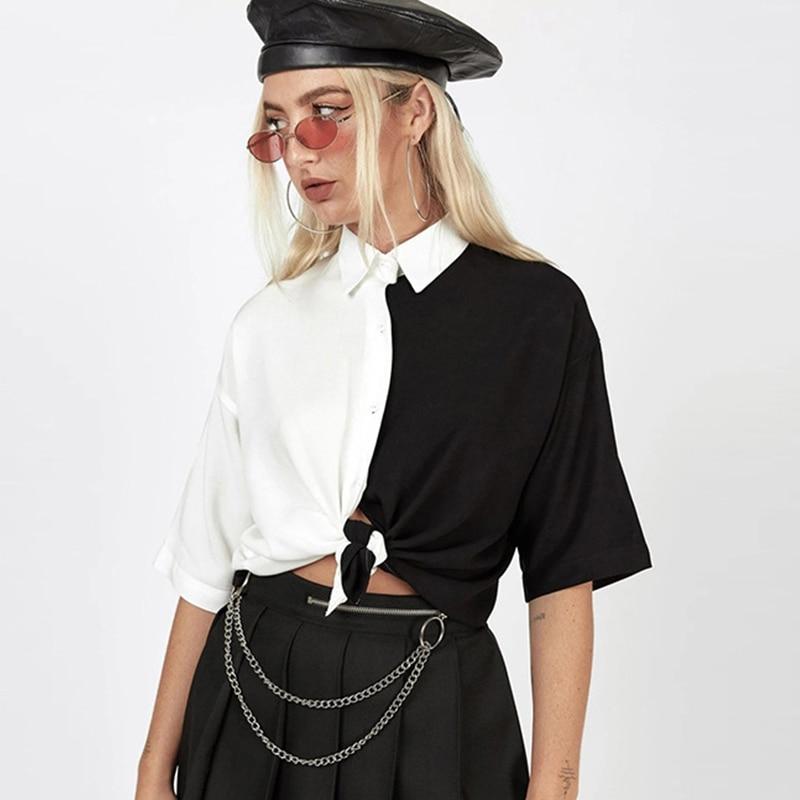 Seasons New Patchwork Black & White Blouse Summer Short Sleeve Cardigan Crop Top Womens 2020 Fashion Ladies Tee Shirt  ASBL80580