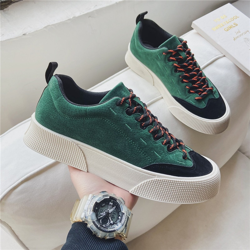 Fashion Black Split Leather Man Chunky Sneakers Black Shoes Lace Up Tenis Feminino Zapatos De Mujer