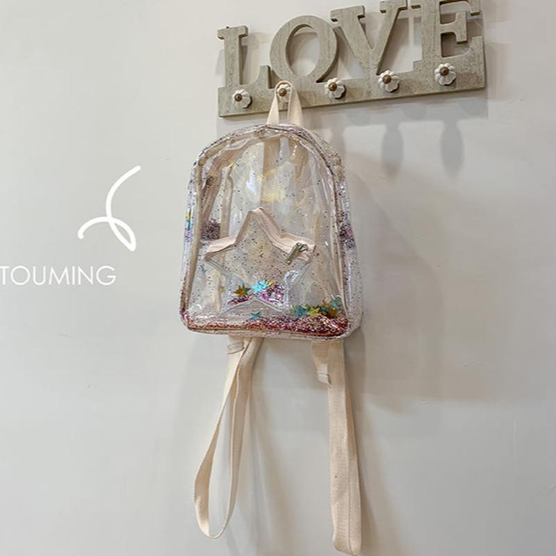 Transparent Bags Women Star Solid Bags Girls Trendy Students High Street Backpacks Large Capacity PVC Ulzzang Chic Korean Female