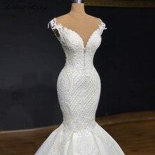 Lceland coquelicot luxe sirène robes de mariée 2020 dentelle Appliques sans manches robe de mariée balayage Train perlée Vestido de Noiva