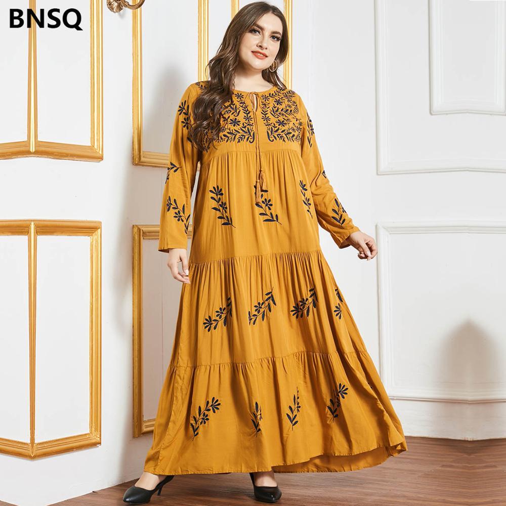 فستان طويل مطرز بأكمام طويلة للنساء ، فستان ماكسي للخريف ، أنيق ، زهري ، غير رسمي ، هندي ، تركي ، عربي ، مقاس كبير