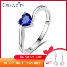 Cellacité 925 argent rubis anneau coeur forme rouge/bleu couleur bagues de fiançailles pour charme femmes mode bijoux en gros cadeau