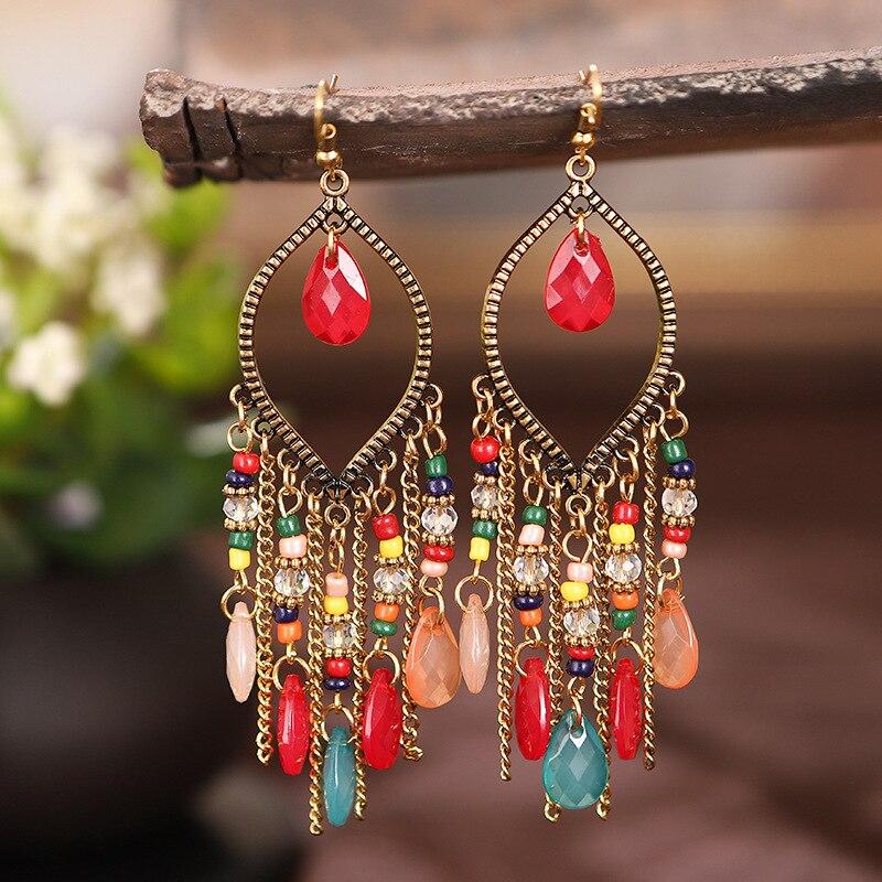 Clássico vintage feminino corful cristal contas longo borla brincos 2020 moda jóias bohemia casamento brincos cabides