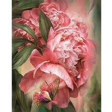 Peinture par numéros pour adultes fleurs roses peintures acryliques sur toile pour salon cadres Photo pour Photo décoration maison