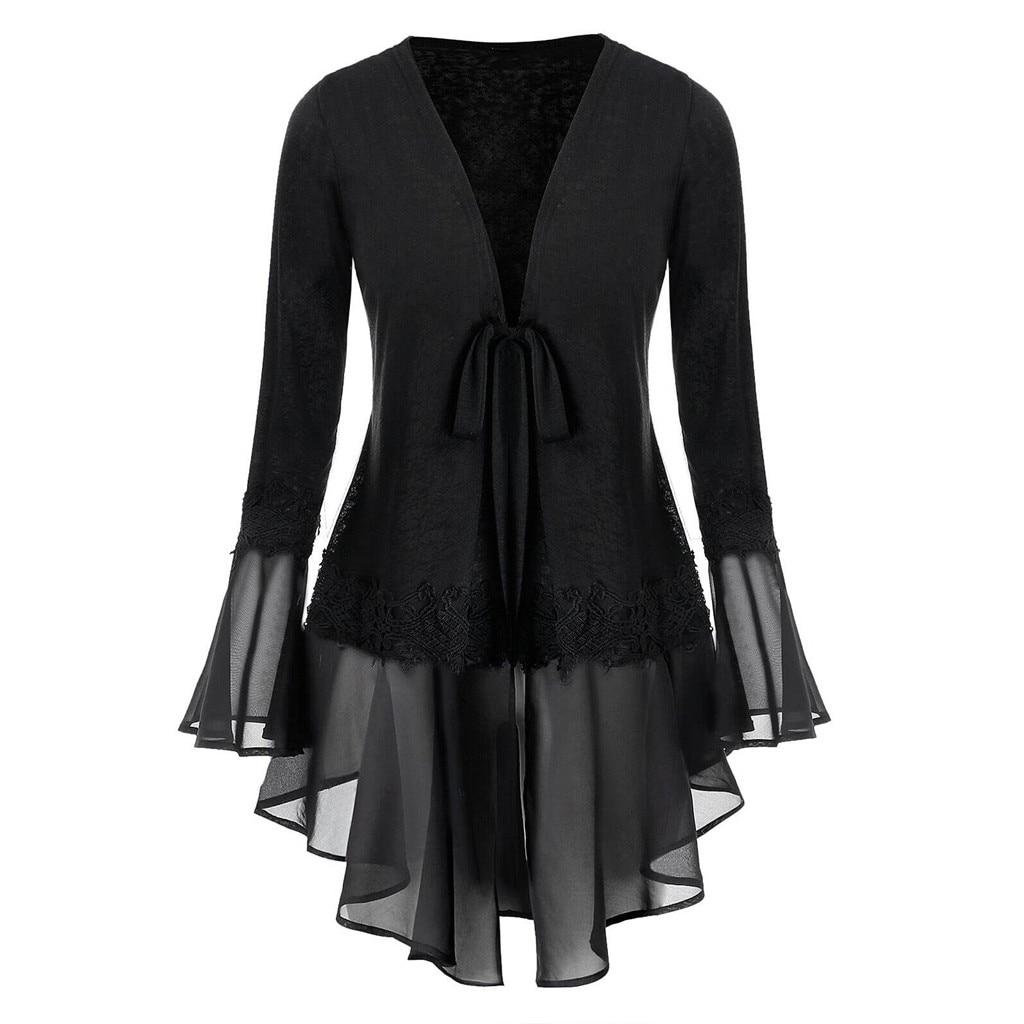 Mujer blusa negra de talla grande espacio Tie-dye Flare manga gasa vendaje Rebeca Tops blusa suelta cuello pico mujeres Tops y blusas