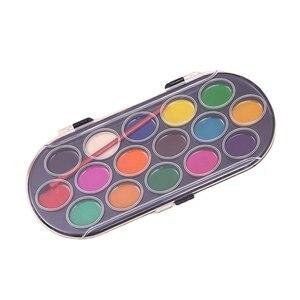 Профессиональная однотонная краска s 16 цветов, ящик для рисования акварелью с кисточкой, яркий цвет, для эскизов, инструменты для творчества
