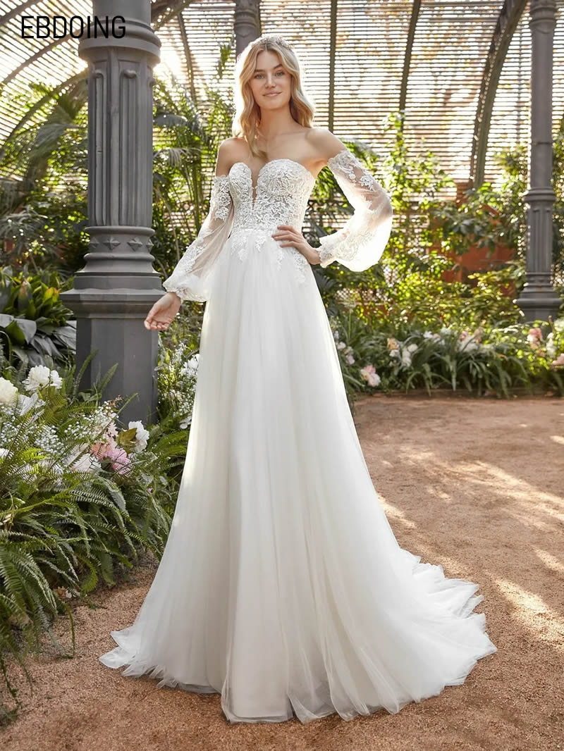 Get Newest Wedding Dress For Bride A-line Lace Deep Sweetheat Neckline Vestidos De Novia Custom Made Plus Size Bride Gown