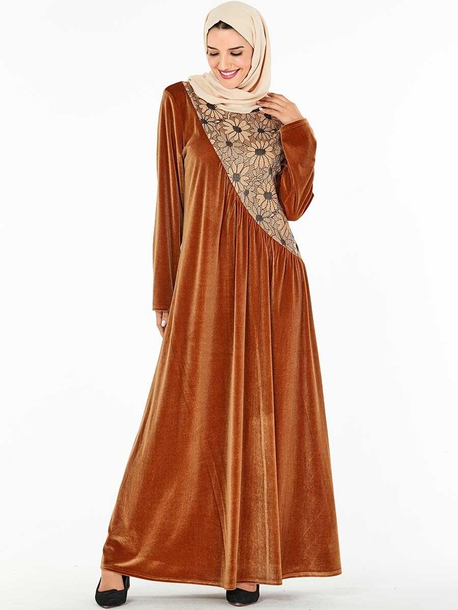 Modesta moda vacaciones Thobe Dresss mujeres largos musulmanes Vestidos para Ramadán 9262 vestido grande de las mujeres Falda larga No pañuelo de cabeza