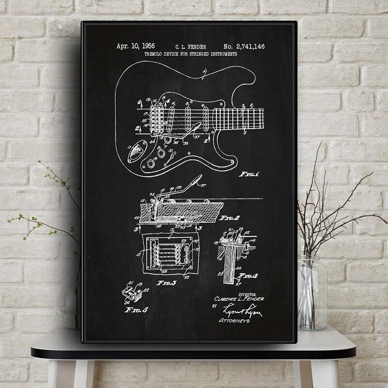 Fender-Cuadro en lienzo de guitarra Stratocaster, póster e impresión de plantilla, imagen...