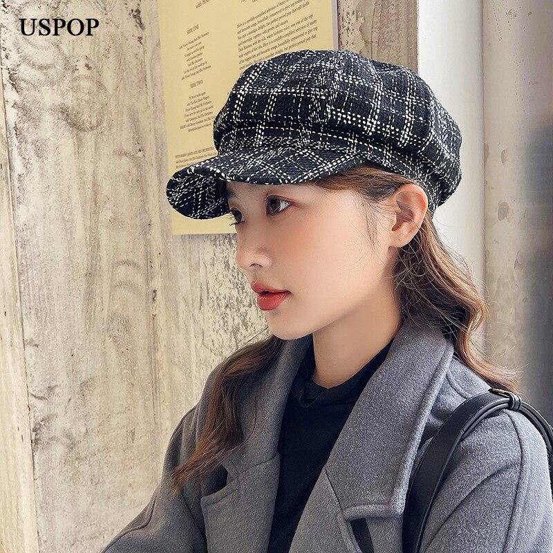 USPOP 2021 женские осенние шапки винтажные клетчатые женские зимние шапки с цепочкой