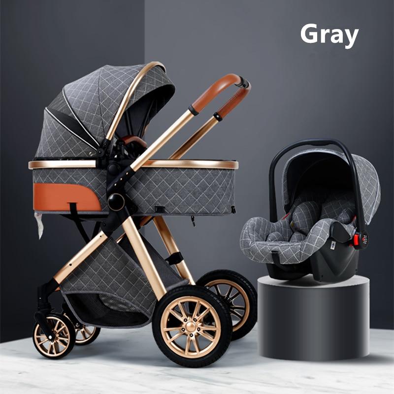 2021 Luxury Baby Stroller 3 in 1 with Car Seat Portable Reversible High Landscape Baby Stroller Hot Mom Stroller Travel Pram