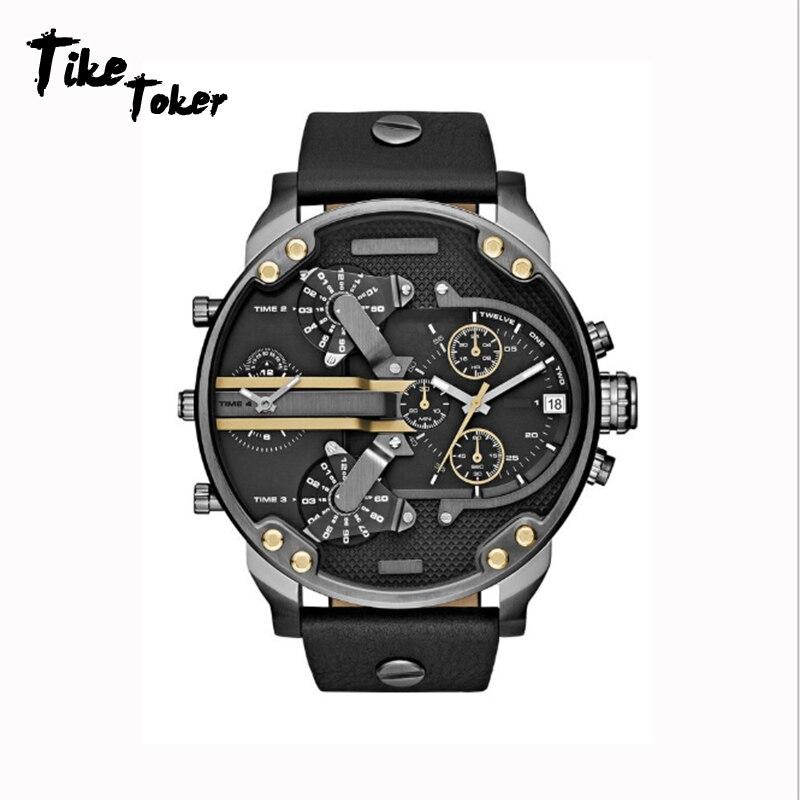 Relógio de Lazer de Aço Tike Toker Personalidade Grande Dial Atmosfera Popular Quartzo Masculino