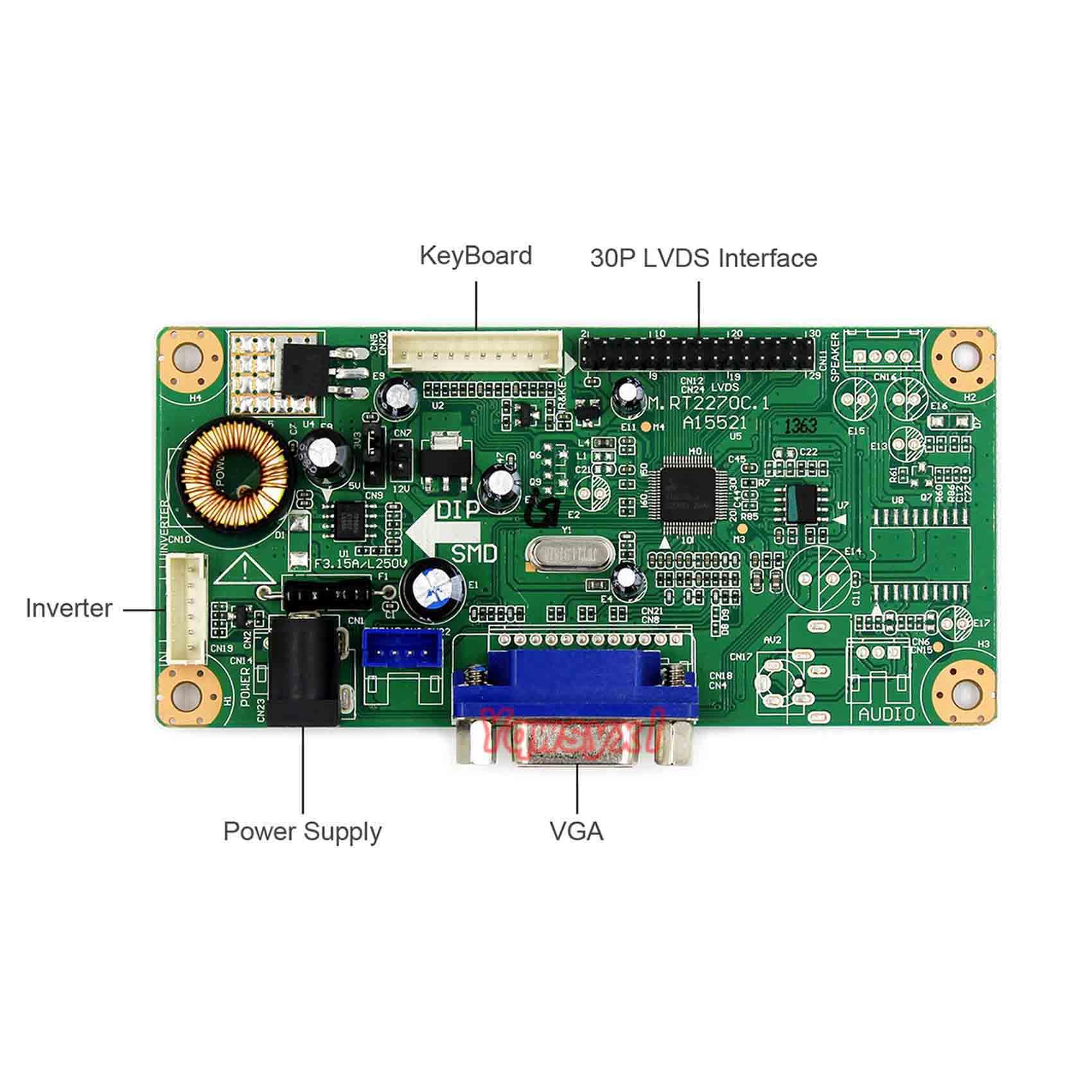 Yqwsyxl vga lcd controlador placa de trabalho para 6.5 polegada g065vn01 v.2 v2 640x480 lcd tela rt2270 placa motorista